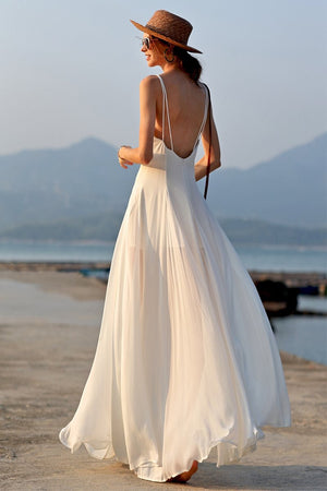 Backless White Beach Holiday Dress Brides