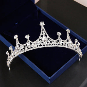 Baroque Crystal Crown Bride Wedding Accessories Diadem Diadems White
