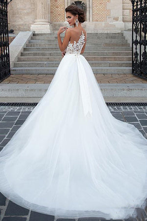 Beach Tulle Lace Applique Wedding Dress With Belt Wedding Dress