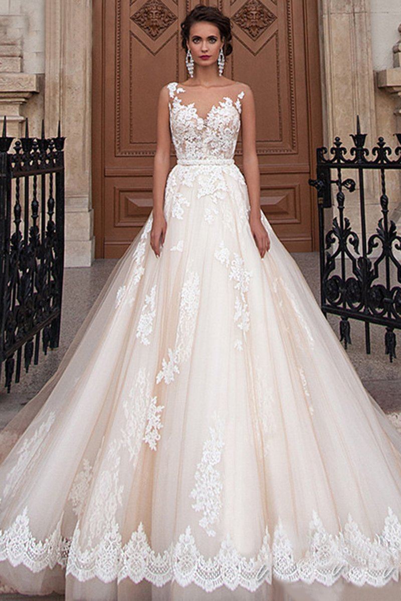 Belt Slimming Lace Multi-Layer Hem Wedding Dress Wedding Dress