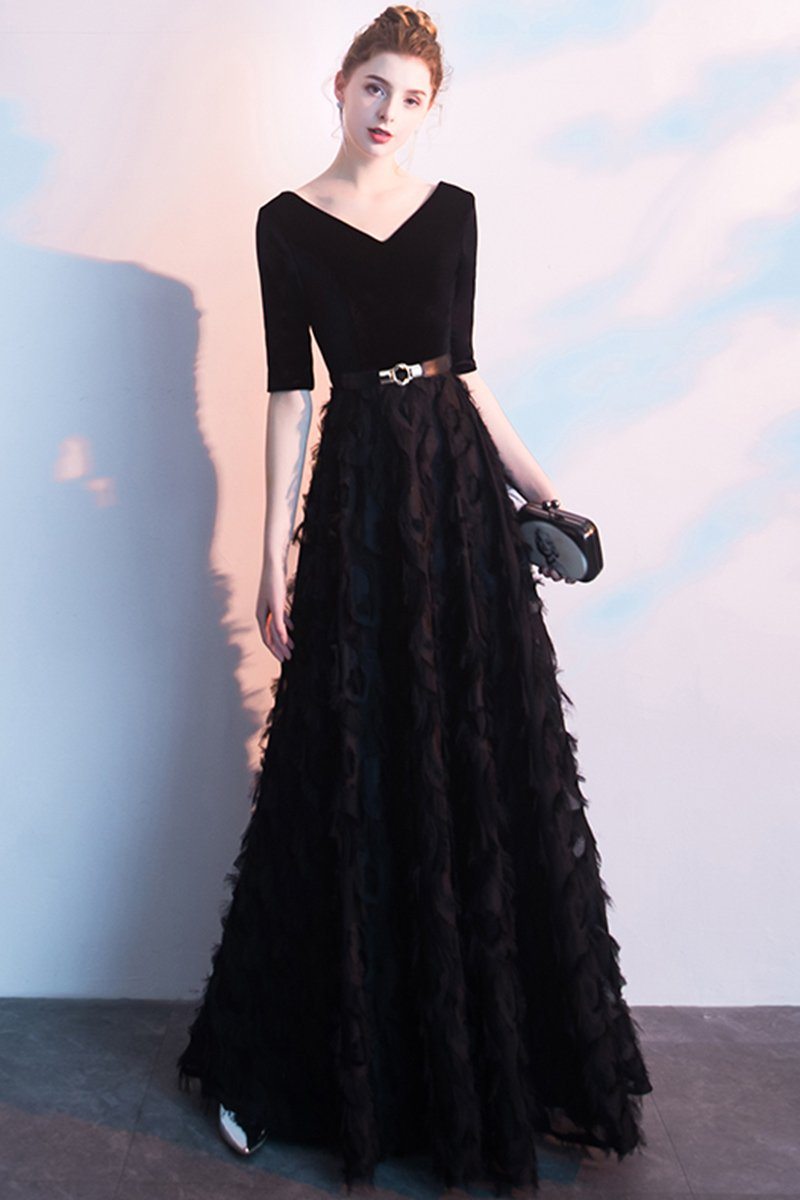 Black Evening Dress Autumn Winter Dress Brides