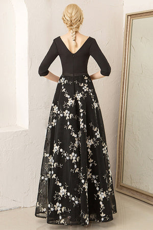 Black Half Sleeve Paneled Floral Party Dress Mother of the Bride Dress Mother of the Bride Dresses