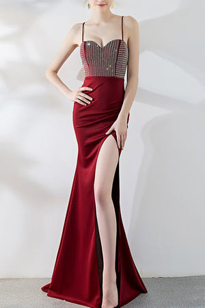 Black Long Banquet Sling Fishtail Dress Brides Wine Red XS