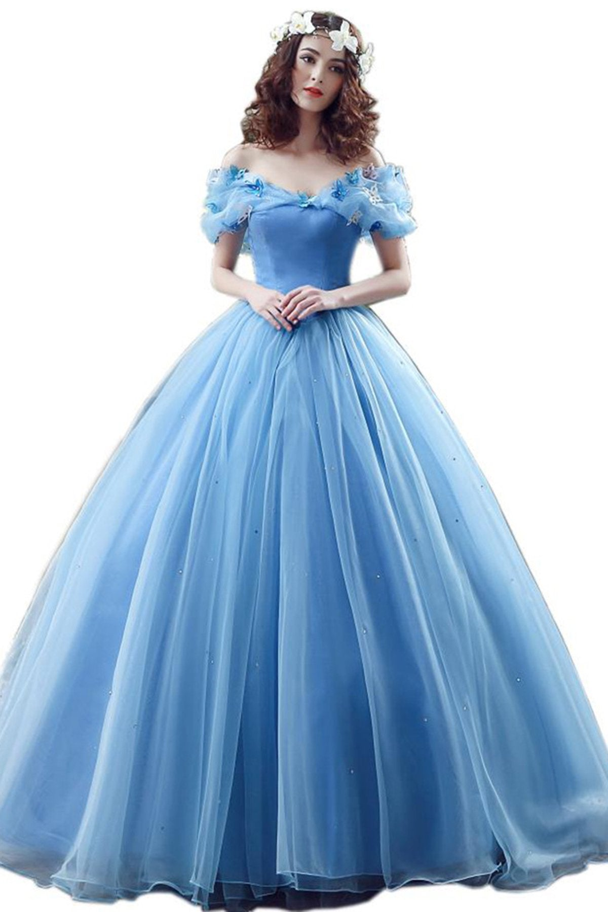 Blue Butterflies Off Shoulder Applique Cinderella Evening Dress Evening Dresses