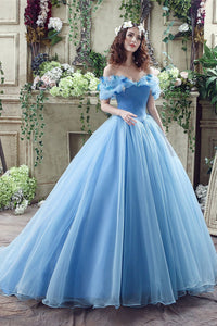 Blue Butterflies Off Shoulder Applique Cinderella Evening Dress Evening Dresses US2 Blue
