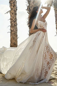 Bohemian Beach Lace Suspender Wedding Dress Brides