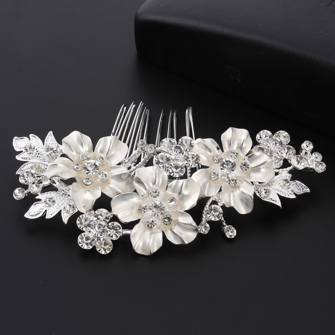 Bridal Rhinestone Comb Headpiece Accessories Hair Combs Silver