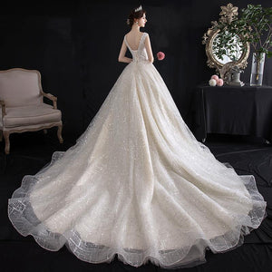 Bridal Temperament Trailing French Wedding Dress Brides Light Champagne Tail Style