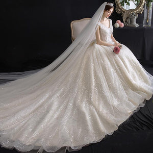 Bridal Temperament Trailing French Wedding Dress Brides White Tail
