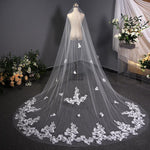Bridal Veil Headdress Wedding Luxury Long Tail Lace Veil Bridal Veil 3.8m*3m White