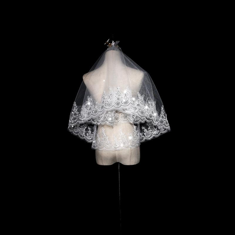 Bridal Veil Short Lace Veil Headdress Princess Wedding Veil Bridal Veil A White 100cm*135cm