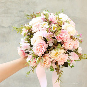 Bride Holding Flowers Simulation Wedding Bouquet Wedding Bouquet Pink 2