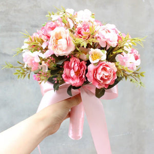 Bride Holding Flowers Simulation Wedding Bouquet Wedding Bouquet Pink 3