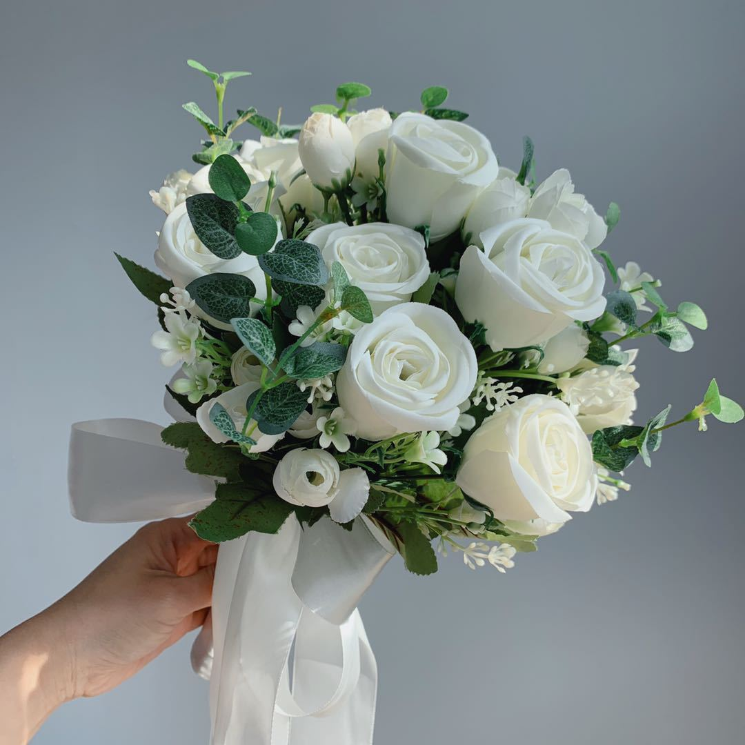 Bride Holding Flowers Simulation Wedding Bouquet Wedding Bouquet White
