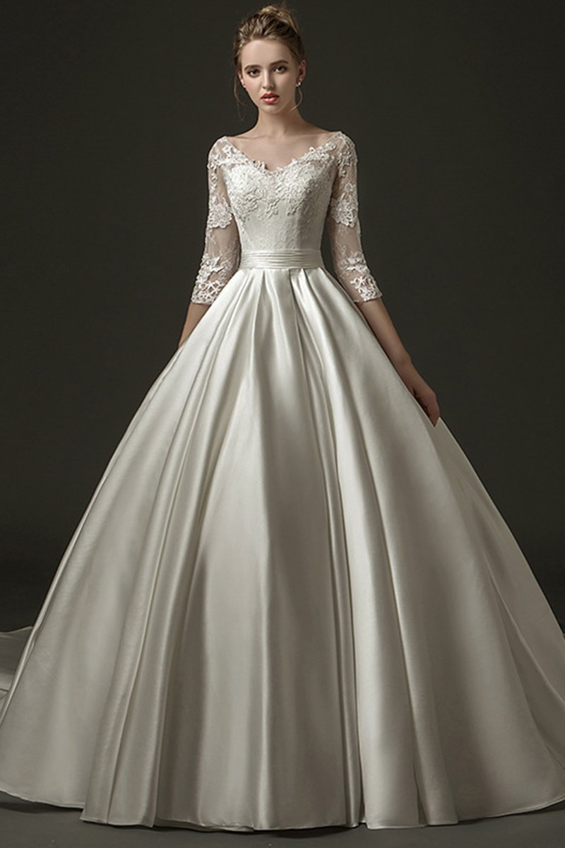 Bride V-Neck Satin Long Trailing Wedding Dress Wedding Dress S White Floor-Length