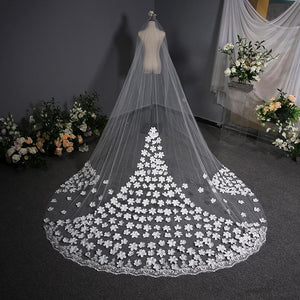 Bridal Veil Wedding Long Tail Lace Veil Wedding Veil Bridal Veil 3.8m*3m White