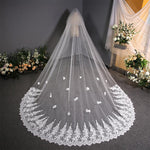 Wedding Veil Headdress Wedding Fairy Lace Bridal Veil Bridal Veil 3.8m*3m White
