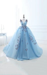 Butterfly Fluffy Tail Wedding Evening Dress Cross-Border E-Commerce Wedding Dress Evening Dresses US2 Blue