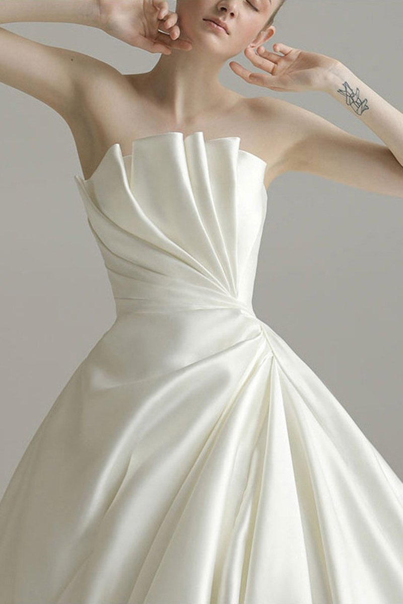 Cathedral Train Strapless Fantastic Wedding Dress Wedding Dress US2 B