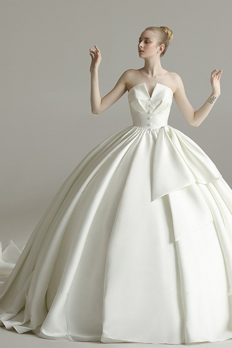 Cathedral Train Strapless Fantastic Wedding Dress Wedding Dress