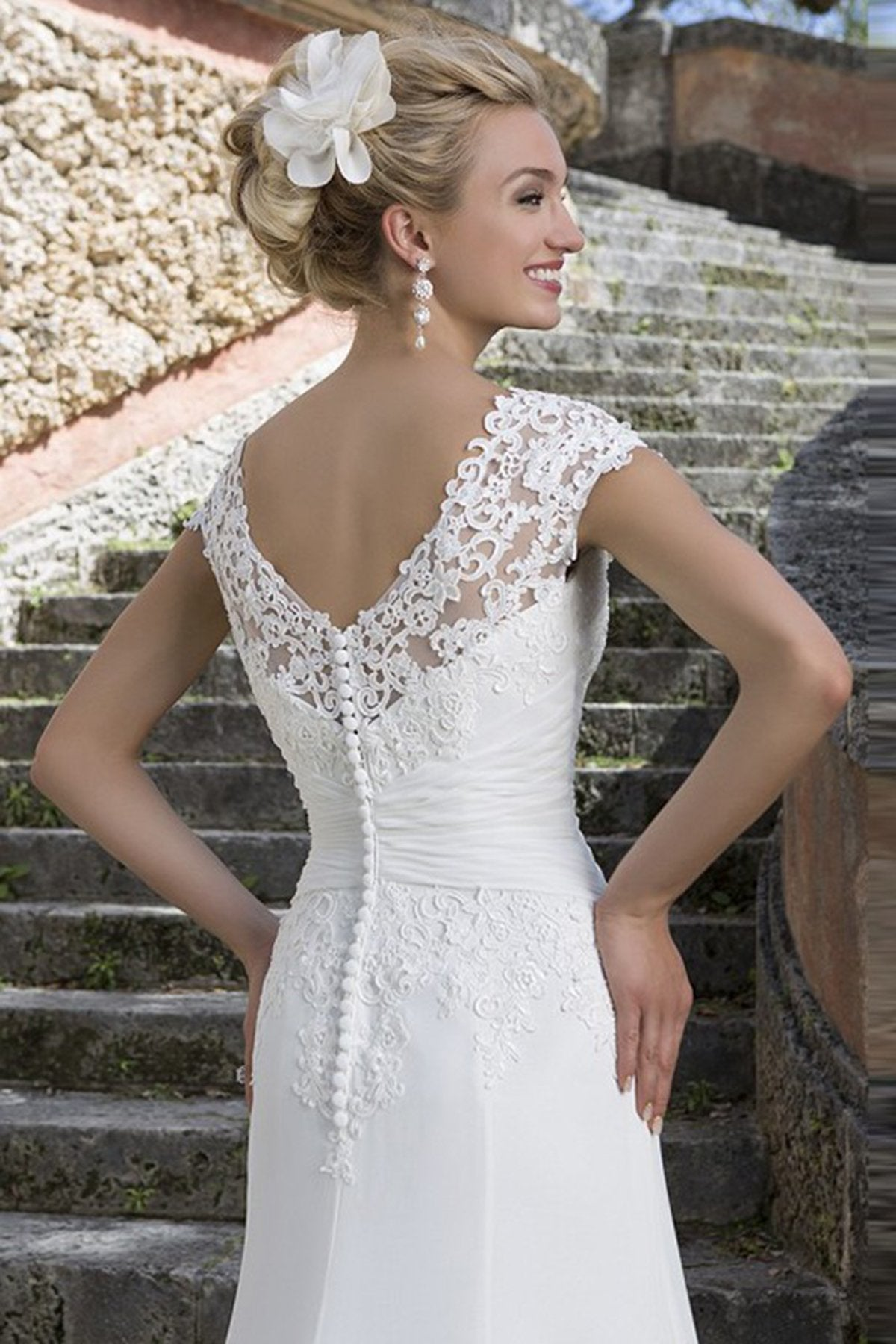 Court Train Mermaid Back Buttons Up Lace Wedding Dress Wedding Dress