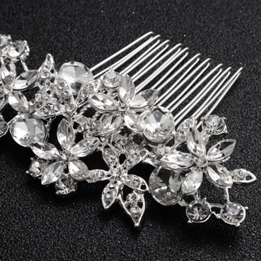 Crystal Floral Wedding Comb Bridal Comb Hair Combs Silver