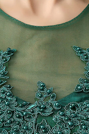 Dark Green Elegant Short Sleeves Lace Mother of the Bride Dress Mother of the Bride Dresses