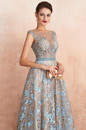 Deep V-Neck Floral See Through Evening Dress Evening Dresses