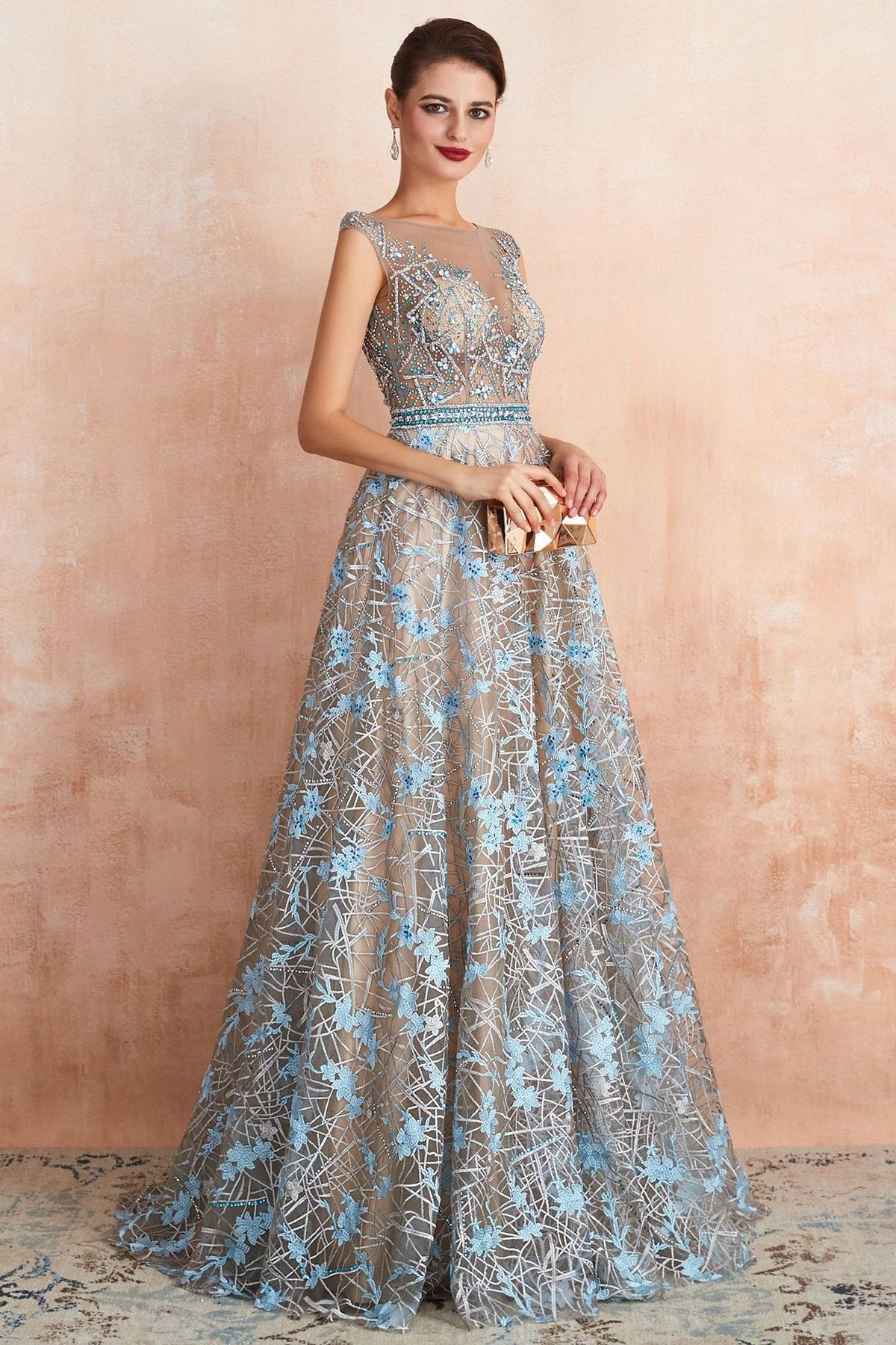 Deep V-Neck Floral See Through Evening Dress Evening Dresses US2 Blue