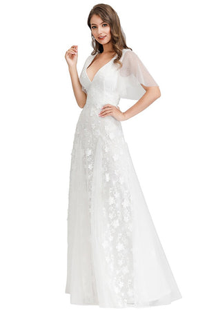 Deep V-Neck Short Sleeve Embroidered Lace Silk Gauze White Wedding Dress Wedding Dress