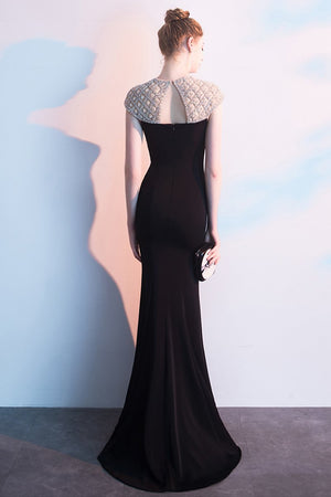 Designed Fishtail Black Beading Evening Dress Brides