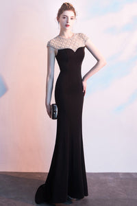 Designed Fishtail Black Beading Evening Dress Brides Black S