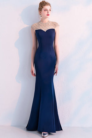 Designed Fishtail Black Beading Evening Dress Brides Navy S