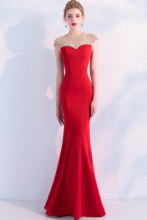 Designed Fishtail Black Beading Evening Dress Brides Red S