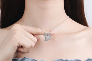 Diamond Clavicle Chain 26 English Alphabet Necklace Accessories D