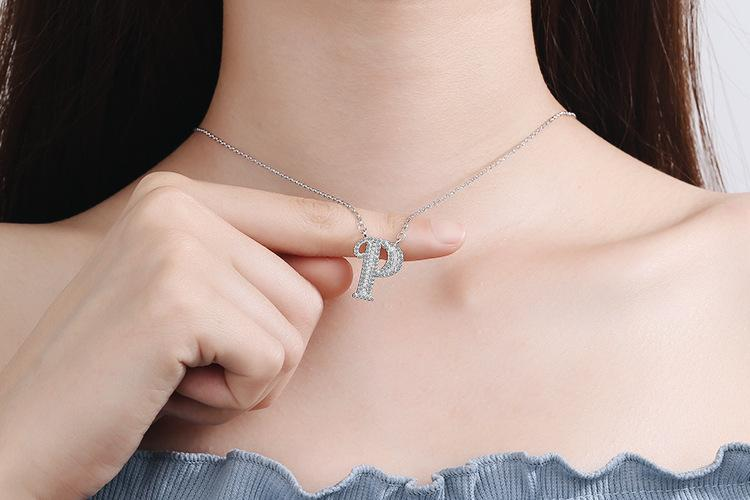 Diamond Clavicle Chain 26 English Alphabet Necklace Accessories P