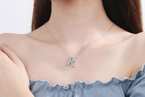 Diamond Clavicle Chain 26 English Alphabet Necklace Accessories R