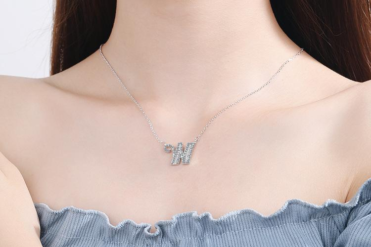 Diamond Clavicle Chain 26 English Alphabet Necklace Accessories W
