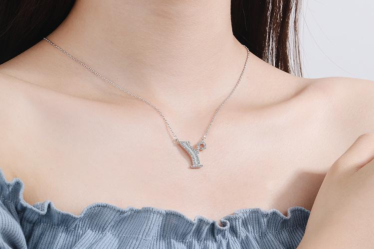 Diamond Clavicle Chain 26 English Alphabet Necklace Accessories Y