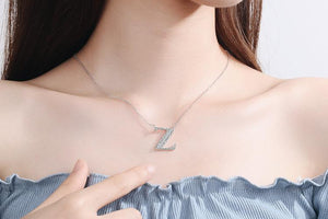 Diamond Clavicle Chain 26 English Alphabet Necklace Accessories Z