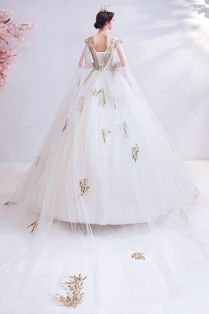 Elegant Lace Princess Bride Big Tail Wedding Dress Brides