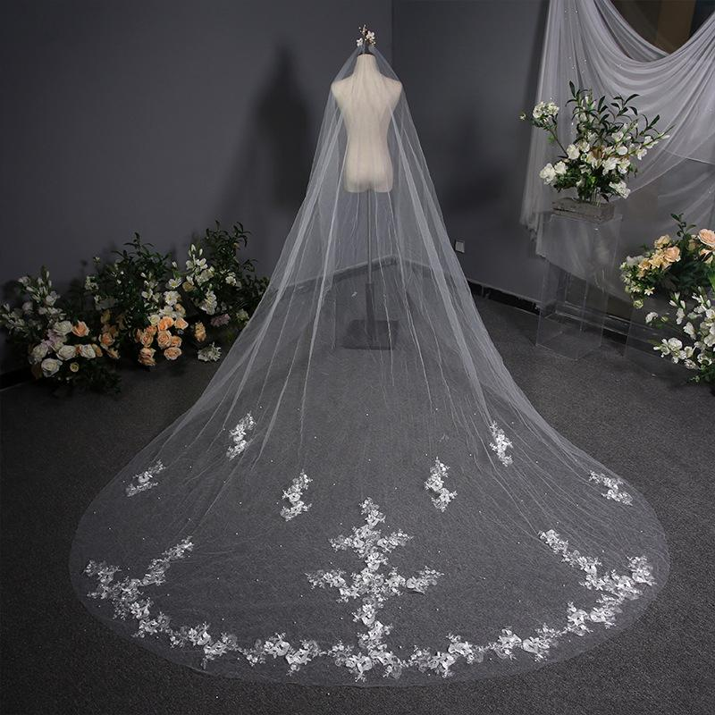 Embroidered Floral Lace Printing Long Trailing Bridal Veil Bridal Veil 3.8m*3m White