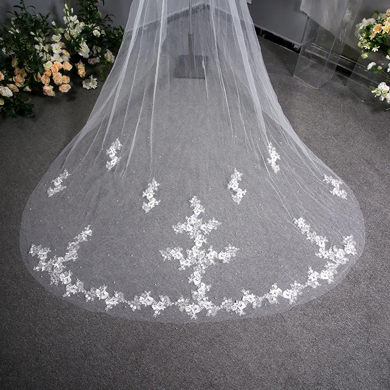 Embroidered Floral Lace Printing Long Trailing Bridal Veil Bridal Veil