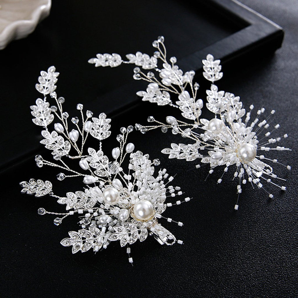Exquisite Handmade Pearl Leaves Hairpins 2 Pcs Hair Pins Sliver