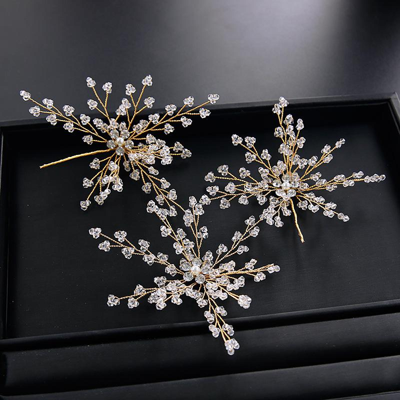 Firework Type Crystal Wedding Accessory Hairpin 3 Pcs Hair Pins Golden