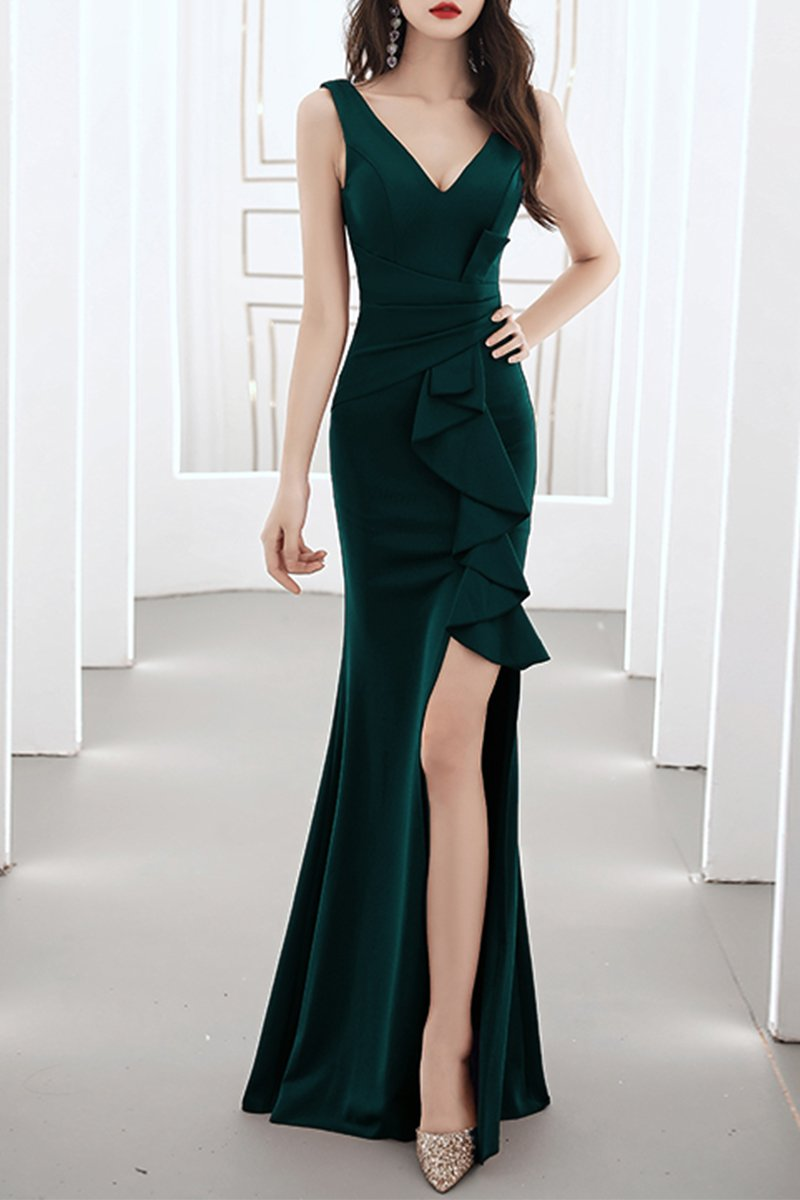 Fishtail Ladies Dinner Sexy White Evening Dress Brides Green S