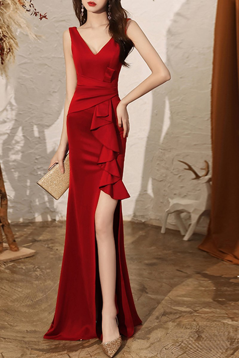 Fishtail Ladies Dinner Sexy White Evening Dress Brides Red S
