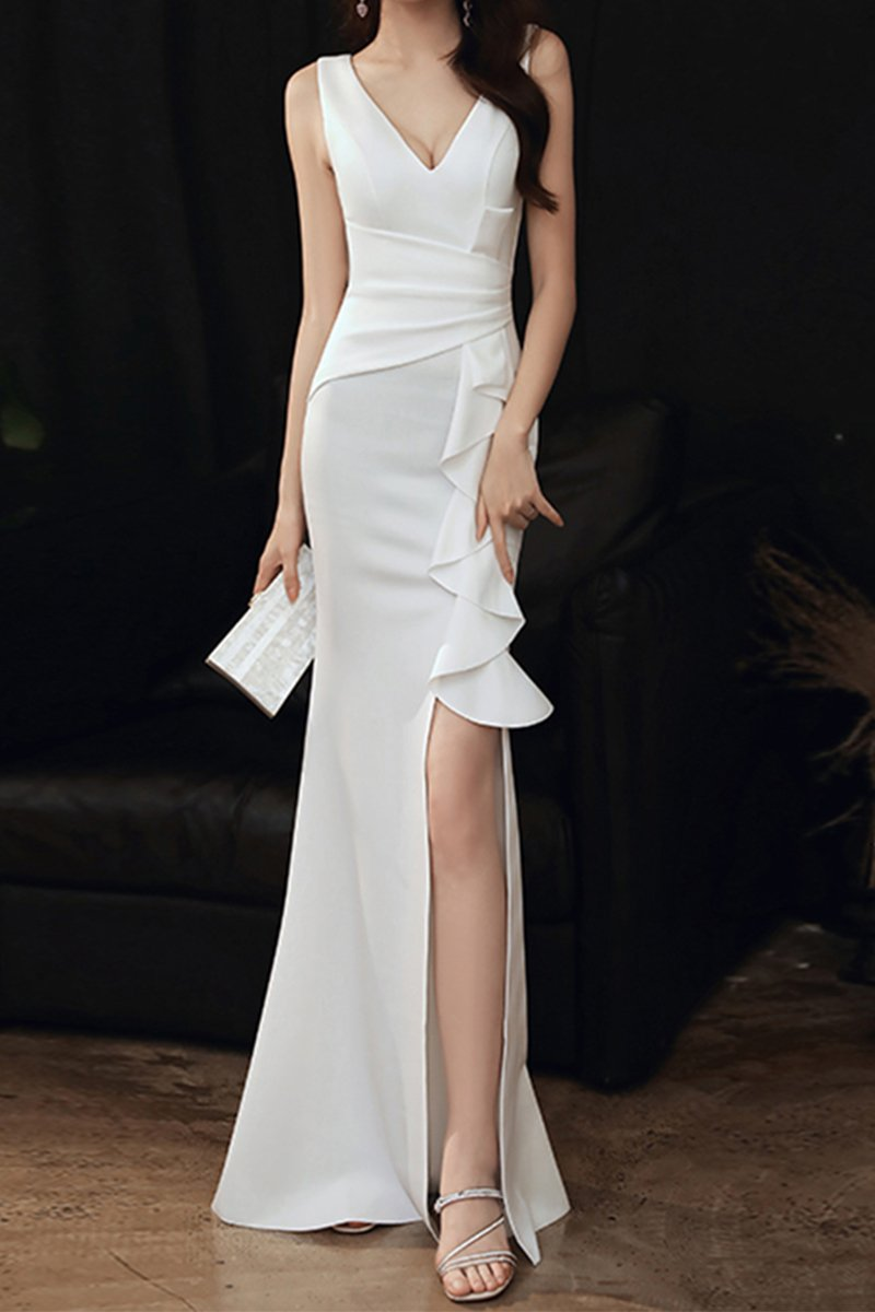 Fishtail Ladies Dinner Sexy White Evening Dress Brides White S