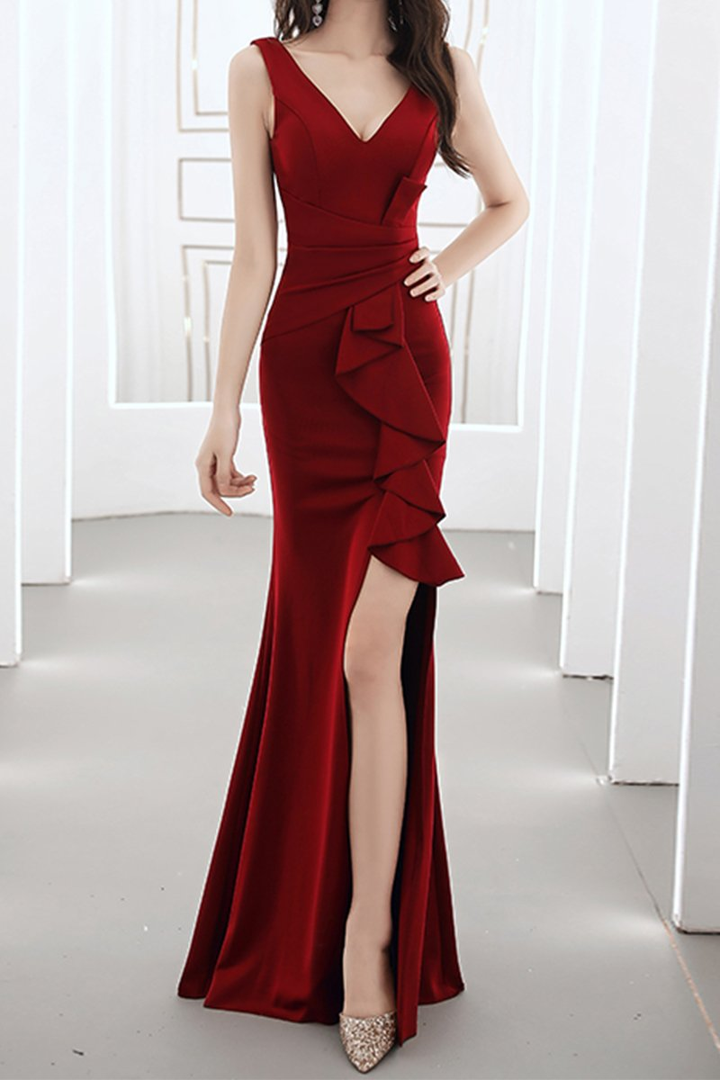 Fishtail Ladies Dinner Sexy White Evening Dress Brides Wine Red S