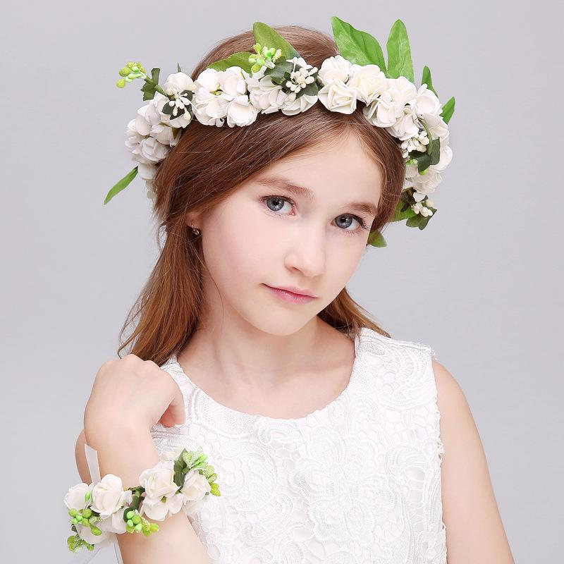 Flower Girl Head Wreath And Two Wristbands Bridesmaids & Flower Girls White with 2 wristbands